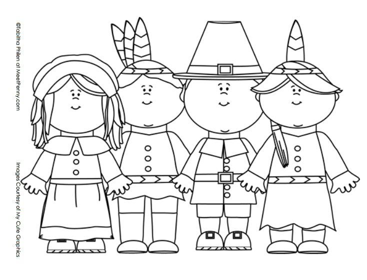 pilgrim indian children coloring page