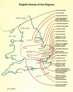 Map of English Homes of the Pilgrims